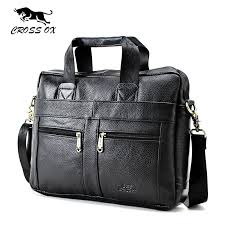 cross ox genuine leather men briefcase hangbags business laptop tote bag