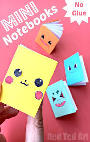 no glue paper book these diy mini books are super easy to make i love that this paper notebook craft has a colourful cover sheet and white pages on the