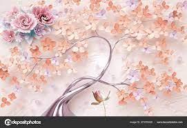 Vintage Floral Background Tree Flowers ...