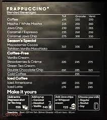 starbucks coffee menu. Delighful Menu Starbucks Menu In Coffee Menu A