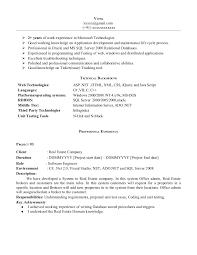 Resume Template Sample Dot Net Resume For Experienced Best Sample