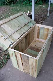 diy wood deck box. storage for pool. easy to build, i think the bottom would have more holes water draining. maybe staple some sort of screen inside al\u2026 diy wood deck box k