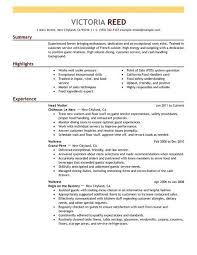 sample of server resumes template free server resume templates