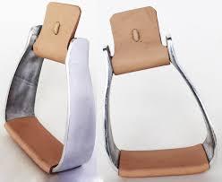horse saddle western angled slanted aluminum stirrups leather tread 5128tn com