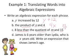 lesson 17 translating between words and algebraic expressions you