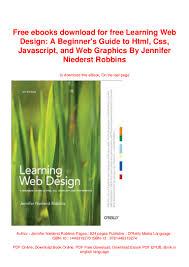 Learning Web Design Free Ebook Free Ebooks Download For Free Learning Web Design A