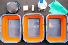 equipment needed to set up a camping dishwashing station
