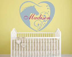 horse wall decal personalized baby girl name decor