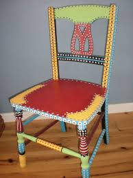 tropical painted furniture. items similar to hand painted whimsical chair gypsy folk art vintage wood furniture on etsy tropical