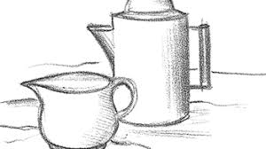Simple weed leaf drawing at getdrawings   free download. How To Draw Coffee Pot And Pitcher Of Cream Drawing Lesson How To Draw Step By Step Drawing Tutorials