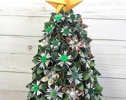 Paper Flower Christmas Tree Items Similar To Book Text Paper Flowers Kusudama Origami Eco
