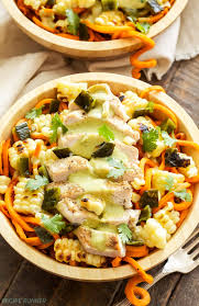 sweet potato noodles with grilled en and creamy poblano sauce a healthy southwest flavored
