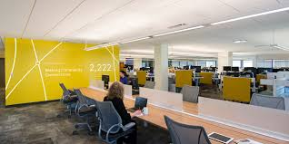 corporate office interior design. alnlyam corporate branding design yellow branded wall office interior