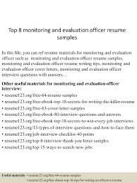 top8monitoringandevaluationofficerresumesamples 150521075527 lva1 app6891 thumbnail 4jpgcb1432194972 information system officer resume