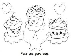 Small Picture Free Print out Birthday mufien cake coloring pages for kids