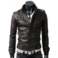 mens slim fitted dark brown leather jacket