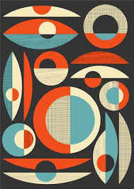 Mid Century Modern poster, mid century print, Abstract art Poster,  Modernist retro composition