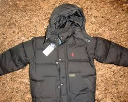 boys nwt polo ralph lauren down puffer jacket w removalble hood black size 4