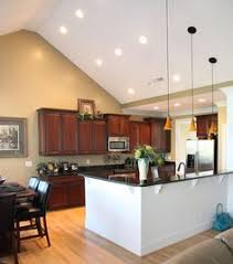 vaulted kitchen ceiling lighting. Innovative Vaulted Ceiling Kitchen Lighting View With Furniture Interior N