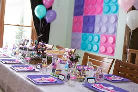Dining Tablescape from a Girl Themed Lego Party via Kara's Party Ideas |  KarasPartyIdeas.com