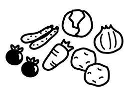 野菜の白黒イラスト かわいい無料の白黒イラスト モノぽっと