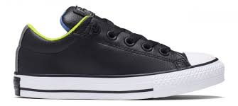 converse for kids. converse kids chuck taylor all star street slip leather black/white/bold lime for 3
