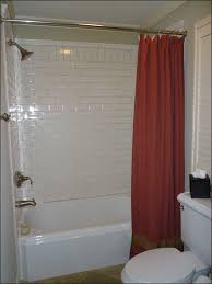 mesmerizing fancy bathroom decor. Mesmerizing Red Shower Curtain In Small Space Room With Brushed Bronze Head Tub And White Gloss Ceramic Wall Panels Minimalist Apartment Fancy Bathroom Decor L