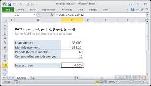 Monthly Principal And Interest Rate Chart How To Use The Excel Rate Function Exceljet