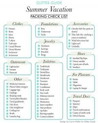 Packing For Vacation Lists Glitter Guide Summer Vacation Packing Checklist