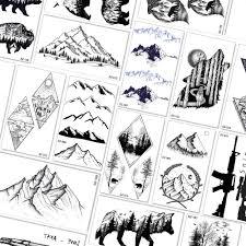 поддельные горы дизайн временные татуировки для женщин мужчин