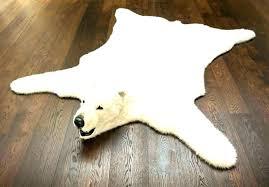 fake bear skin rug with head image of polar faux bearskin he white