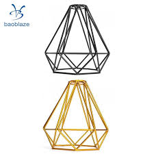 2 pack wire diamond loft pendant ceiling light cage lamp shade lightshade black gold