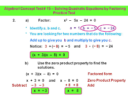 solving quadratic equations by factoring practice test 1 3 1