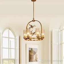 regron retro scandinavian innovatiove post modern copper chandeliers lamp bird chandelier bedroom restaurant willa living room lounge interior lighting
