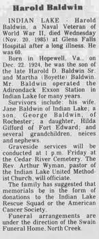 Obituary for Harold Baldwin, 1924-1985 (Aged 60) - Newspapers.com