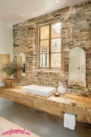 rustic full bathroom with xylem semi recessed vessel sink in white penny tile floors