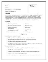 Blank Chef Resume Template | Free Word Templates