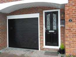black roller garage door after