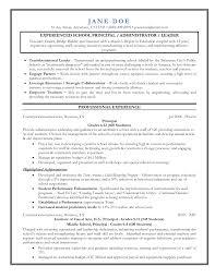 Confortable Sample Resume Principal Position Also Entry Level