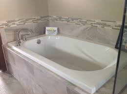drop in tub. Drop-in Tub With Gray Tile Drop In