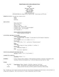 Template Resume Template For College Application Fee Schedule