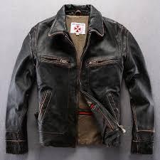 vintage genuine leather jacket men black leather motorcycle jacket men s real cowskin leather coat for men real skin wind jacket in genuine leather coats