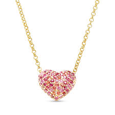 puffy heart pendant necklace se