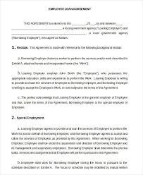 Company Loan To Employee Agreement 16 Loan Agreement Templates Word Pdf Apple Pages