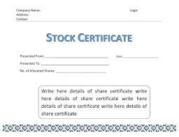 Template For Stock Certificate Corporate Stock Certificate Template