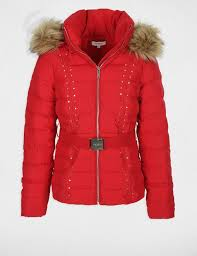 fitted puffer jacket with faux fur hood