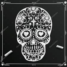 день мертвых череп эскиз доске нарисуйте цветок сахара татуировка