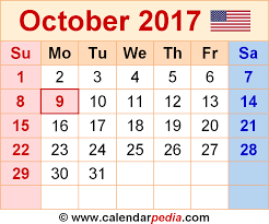 Small Picture October 2017 Calendars for Word Excel PDF