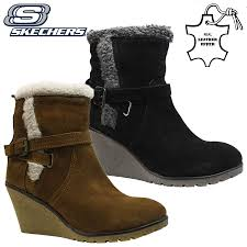 sketchers ankle boots. ladies skechers leather memory foam warm fur biker winter ankle boots shoes size sketchers ankle boots h