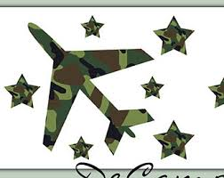 Lovely CAMO ARMY AIRPLANE Stars Wallpaper Border Wall Decals Teen Boys Hunting  Room Decor Kids Bedroom Green